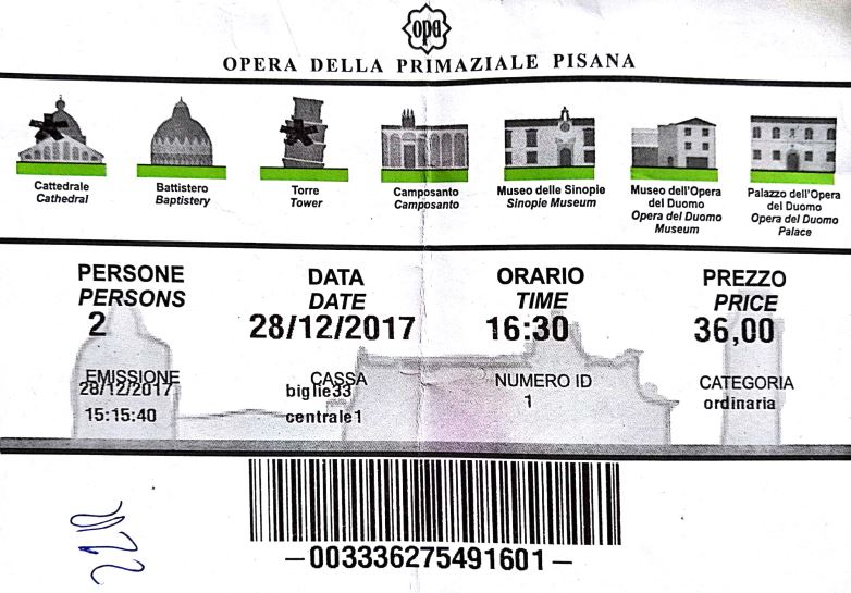leaning tower pisa ticket