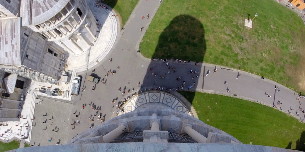 leaning tower pisa freestanding bell shadow